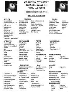 Clausen Nursery plant list