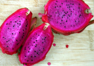 Cut up red Dragon Fruit