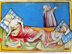 Illustration of the Black Death from the Toggenburg Bible (1411). Image credit wikipedia