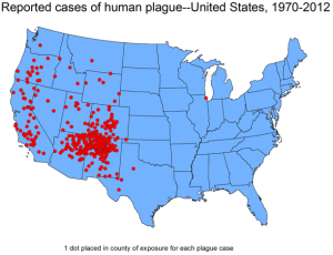 USA Plague map via the CDC
