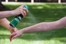 Spraying of mosquito repellent